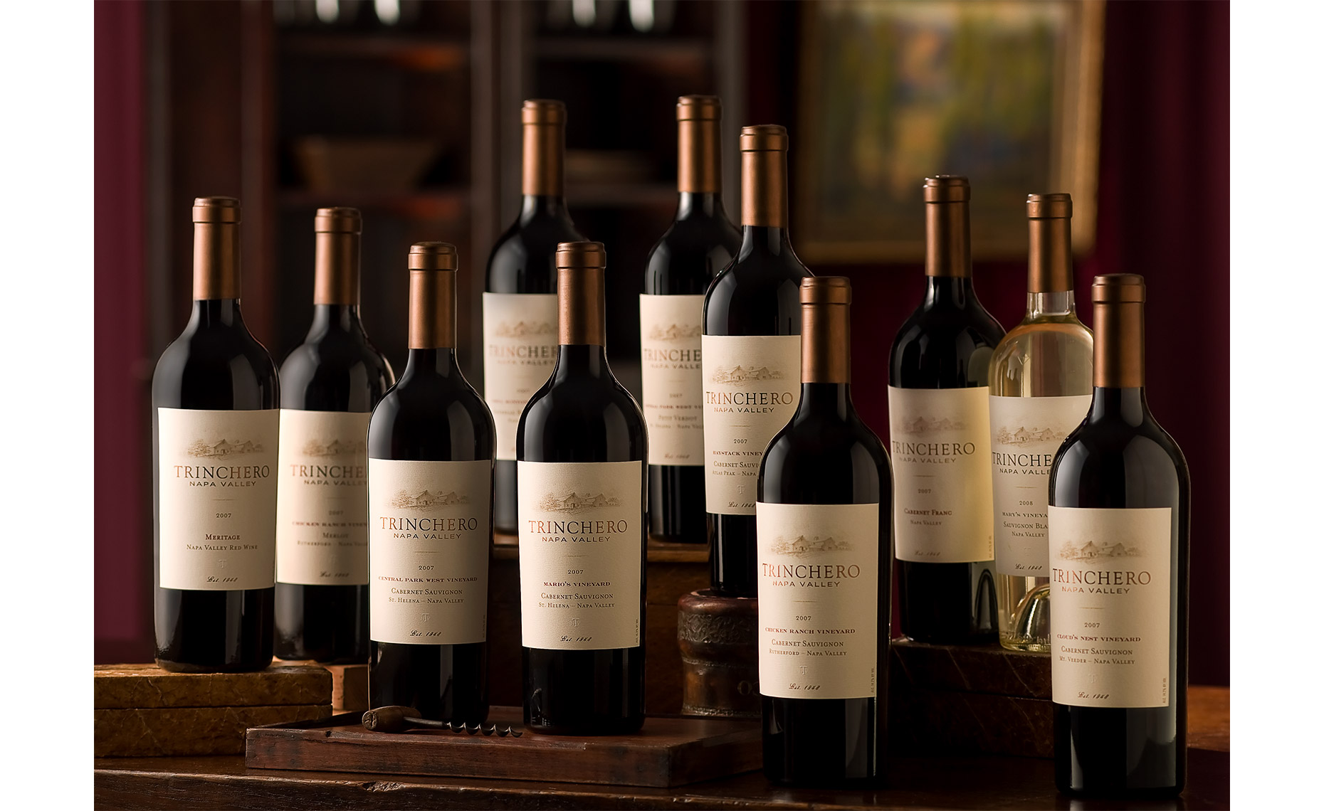 Group photo of Trinchero wines by Leo Gong drink photography