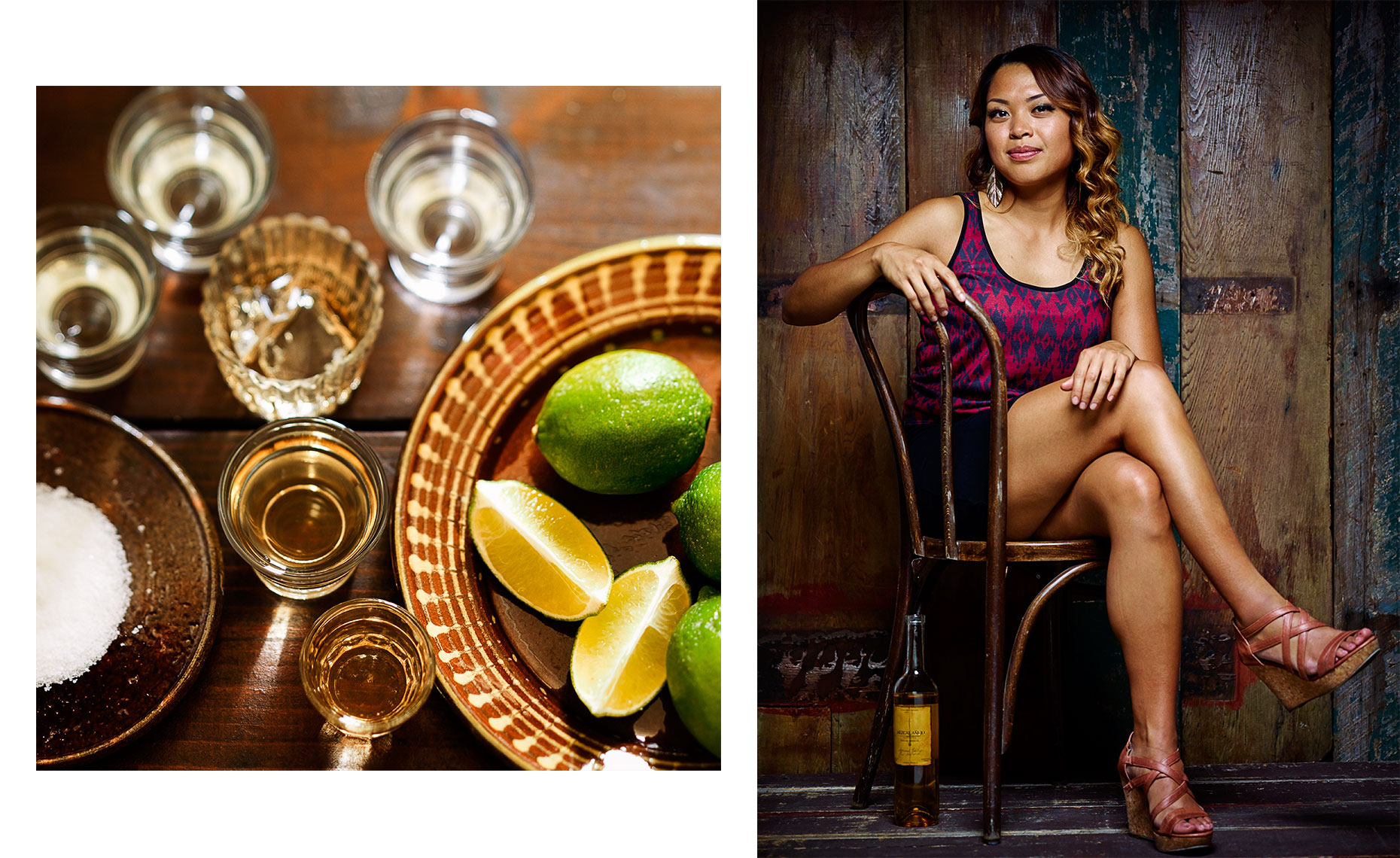 Shot glasses with lime and salt by Leo Gong still life photography